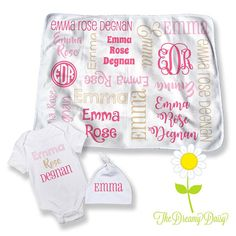 Baby Girl Coming Home Outfit  Personalized Baby Blanket