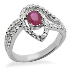 This 18k white gold ring features a lovely 0.68ct oval shape ruby in a 4 prong setting embraced by 2 rows of brilliant round cut diamonds. The color of the diamonds are G/H and the clarity is SI2/SI3.Different ring sizes may be available. Please inquire for details. $796.00