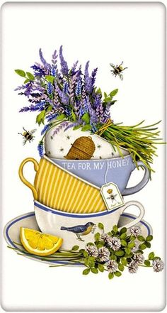 Lavender Tea Cup Cotton Flour Sack Dish Towel Tea Towel Discover our huge collection of dish towels and dog lover gifts. Designed by Mary Lake Thompson, featuring a stack of lavender filled tea cups. Images Vintage, Vintage Diy, Dish Towels, Tea Towels, Tee Kunst, Flour Sack Towels, Flour Sacks, Dog Lover Gifts, Tea Time