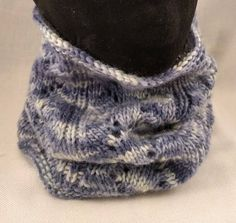 Hand knitted loop scarf made from hand dyed yarn in unique blue denim tones Knit Cowl, Scalloped Edge, Hand Dyed Yarn, Lace Knitting, Blue Denim, Snug, Hat, Colour, Wool
