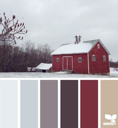 winter morning hues color palette from Design Seeds Design Seeds, Colour Pallette, Colour Schemes, Color Combos, Red Barns, Winter Colors, Winter Color Palettes, Exterior Paint, Exterior Design