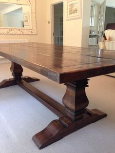 "English solid oak refectory tressle dining table 8ft6"" x 3ft6"" 