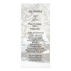 Garden Gate in Winter Wedding Program -- Winter wedding program that you can customized yourself.  #wedding  #weddingprogram #weddingprograms #gettingmarried #customize #winter #snow #gardengate #cold #white $0.65 per card   BULK PRICING AVAILABLE!