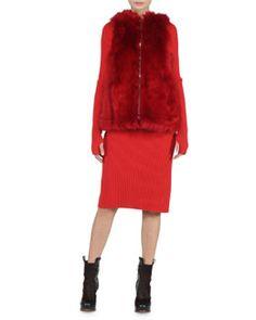 Fendi Reversible A-Line Fur Vest & Wide-Ribbed Cashmere Dress Fall 2015