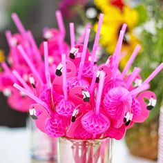 5/10/20/30 Flamingo Cocktails Drinking Straws Hawaiian Fun Accessories Decor