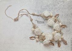 """Купить Колье-воротничок """"Винтажные розы"""" - ирина сергеева, lampwork, авторское колье, свадебное украшение"""