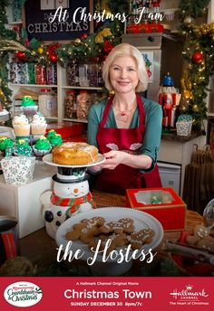 """Do you play the role of Hostess like Betty (Beth Broderick) during Christmas? Tune in to """"Christmas Town"""" on December only on Hallmark Channel! The heart of Christmas. Christmas Movie Night, Christmas Tunes, Hallmark Christmas Movies, Christmas Shows, Holiday Movie, Christmas Countdown, Hallmark Homes, Chick Flicks, Vintage Horror"""