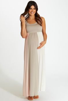 Taupe-Pink-White-Colorblock-Maternity-Maxi-Dress #colorblockmaxidress #maternitymaxis #cutematernityclothes