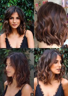 best Ideas hair color ideas for brunettes for winter curls subtle ombre Medium Hair Cuts, Medium Hair Styles, Curly Hair Styles, Medium Length Curly Hairstyles, Shoulder Length Hairstyles, Medium Choppy Hair, Long Bob Hairstyles For Thick Hair, Medium Black Hair, Medium Length Wavy Hair
