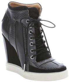 78f33fd5eb4b L.A.M.B. black leather and suede  Summer  lace-up wedge sneakers Black Wedge  Shoes