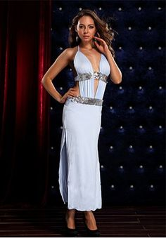 Long, sequin detail, halter top gown with cut outs and high side slits.