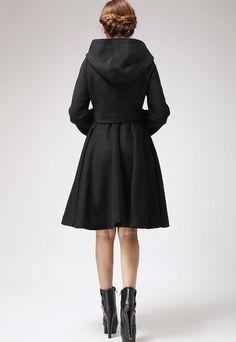Manteau de laine noire manteau capuche manteau hiver par xiaolizi