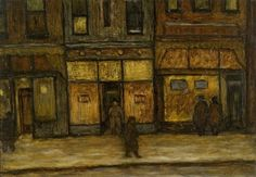 """Lower Third Street, Milwaukee,"" Joseph Friebert, 1939, oil, egg tempera on hardboard, 18 x 26"", Spencer Museum of Art."