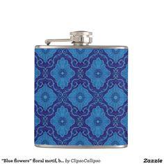 """Blue flowers"" floral motif, bohemian pattern Flask#blue, #navy+blue, #dark+blue, #royal+blue, #cerulean, #floral, #flower, #pattern, #bohemian, #pattern, #ornament, #ornamental, #flourishing, #blooming, #bloom,#decorative, #trendy, #70s, #arabesque, #damask, #eastern, #luxurious, #palatial,  #plush, #saturated, #colorful, #seamless, #vintage, #design, #motif, #medallion, #rich,  #azure, #cobalt, #ultramarine, #lapis, #cornflower,"