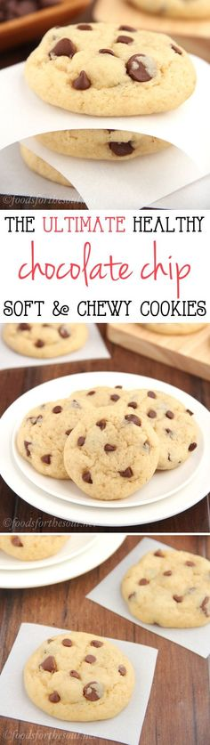 The Ultimate Healthy Soft & Chewy Chocolate Chip Cookies - No one would ever guess they're secretly skinny and low in fat.