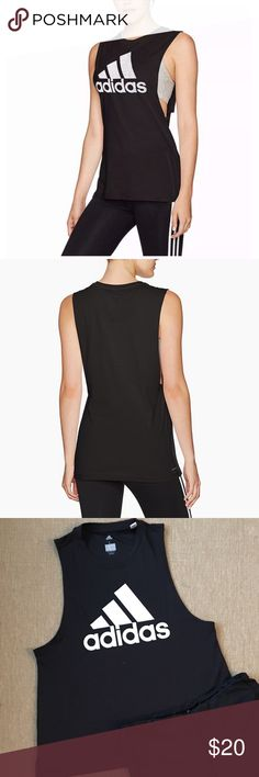 """Adidas Women's Graphic Muscle Tank This Women's tank is built in moisture-wicking Climalite fabric. The sleeveless tee has a crewneck for full coverage. Polyester. Bust 21"""" across, length 26"""" adidas Tops Muscle Tees"""