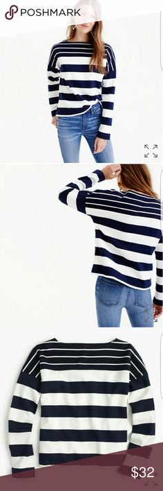 "J. Crew Stripe-blocked Boatneck Top The only thing better than stripes is...more stripes. This boatneck T-shirt features two striped fabrics that we pieced together for a playful look. It's an easy layer that pairs well with everything. Slightly loose fit. Body length: 22"" 100% Cotton J. Crew Sweaters"