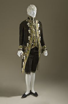 Suit 1800, European, Made of silk and velvet. Not gonna lie, I wish men still dressed like this (damn you, James McAvoy in Becoming Jane!)