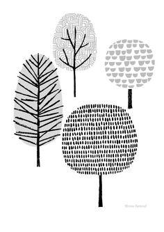 New Forest Natural, limited edition giclee print Vier Bäume ist ganz minimalen. Drawn Art, Hand Drawn, Illustration Art, Illustrations, People Illustration, Scandinavian Art, Art Plastique, Zentangle, Giclee Print