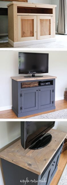 How to build a Rustic TV Stand with a weathered wood finish. This DIY media cabinet creates a classic, modern farmhouse look and provides extra living room storage! Click for the free build plans!