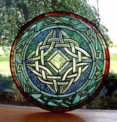 """Round Celtic Knot Stained Glass Window from """"Shop Irish"""". Faux Stained Glass, Stained Glass Designs, Stained Glass Panels, Stained Glass Projects, Stained Glass Patterns, Leaded Glass, Celtic Stained Glass, Window Glass, Mosaic Art"""