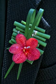 Exotic Boutonniere Of: Hot Pink Orchid, Green Bamboo Shoots, & Green Lily Grass^^^^ Deco Floral, Arte Floral, Floral Design, Corsage Wedding, Wedding Bouquets, Prom Flowers, Wedding Flowers, Corsage And Boutonniere, Boutonnieres