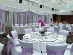 purple & white wedding decor