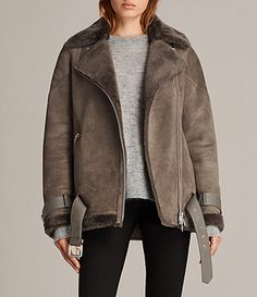 Women's Hawley Oversized Shearling Jacket (Khaki Green) - Image 1