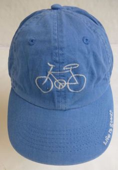 Life Is Good Baseball Cap Hat Blue White Bicycle Design Adjustable One Size d0fb51db2ebd