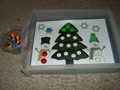 """Winter Learning Activity Boxes from """"The Kids Place"""" Home Daycare and Preschool.this would be a good way to learn shapes if you provided different shapes to match onto the picture Seasons Activities, Winter Activities For Kids, Christmas Activities, Preschool Winter, Christmas Crafts, Christmas Tree, Preschool Learning, Learning Activities, Preschool Activities"""