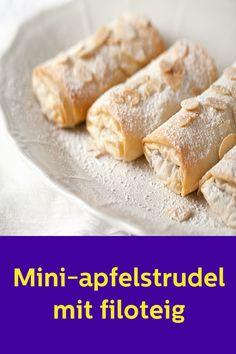 Mini apple strudel with filo pastry - Rezeptideen - Oktoberfest Mini Desserts, Muffins, Filo Pastry, Apple Strudel, Mini Apple, High Tea, Cake Art, Hot Dog Buns, Finger Foods