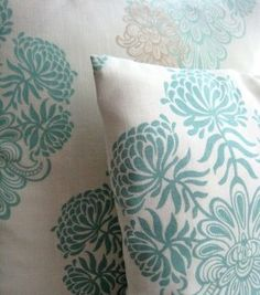 Vanilla and Duck egg Blue Handmade Cushion Cover by...