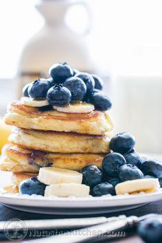 Fluffy Sour Cream Blueberry Pancakes