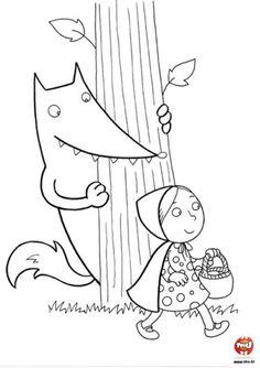 Coloriage : Le loup se cache derrière un arbre pour ne pas être vu de la petite fille ! Imprime ce joli coloriage et utilise les couleurs de ton choix pour colorier la forêt, le loup et la petite fille Traditional Tales, Stories For Kids, Red Riding Hood, Little Red, Pre School, School Projects, Diy For Kids, Pixel Art, Mythology