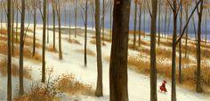 Red on Snow by erwinsart on deviantART Forest Illustration, Graphic Illustration, Animation Background, Landscape Drawings, Environmental Art, Conceptual Art, Art Portfolio, Fantasy Art, Cool Art
