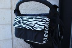 Zebra animal print stroller caddy stroller bag pram bag pram caddy buggy bag buggy caddy nappy bag diaper bag by Tracey Lipman