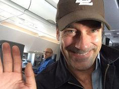 Hi, greetings from a crusing altitude of 36,000 feet. On your flight today you have Jon Hamm takin' selfies with Matt Lauer while they stretch their legs in their ample leg space and eat lobster rolls (probably, no actual evidence of that). | Look At This Photo Jon Hamm Took Of Himself On An Airplane With Matt Lauer