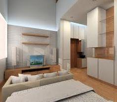 minimalist living room, nice balance of wood, glass and stone.
