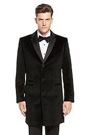 'Academy' | Rich Velvet Herringbone Coat #bossblack