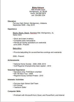 7 best basic resume examples images on pinterest sample resume student resume sample no experience high school student resume example resume template builder with thecheapjerseys Images