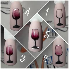 Wine design nail art