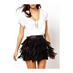 Rotita Fringe Decoration Black PU Sheath Skirt (29 AUD) ❤ liked on Polyvore