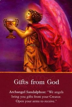Archangel Sandalphon- Gifts from God - Doreen Virtue Archangel oracle card deck published by Hay House #angels #archangels #Sandalphon #abundance #blessings #prayers ##inspiration For private angel card readings: www.angelsoflight44.com