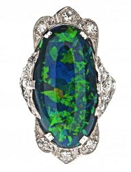 Black Opal with Green & Blue Hues Art Deco Antique Ring