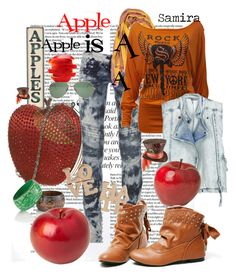"""Apple is A ;)"" by girlyskullsam ❤ liked on Polyvore featuring SCARLETT, Apples, Denis Colomb, CO, IRO, Ray-Ban and Miss Selfridge"