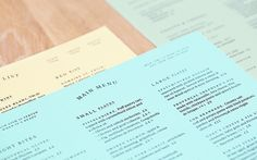 Visual identity and menus for Café Pistou by Ragged Edge.
