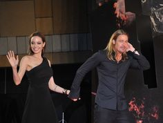 TOKYO, JAPAN - JULY 29:  (CHINA OUT) Actress Angelina Jolie and actor Brad Pitt attend the 'World War Z' Japan Premiere at Roppongi Hills on July 29, 2013 in Tokyo, Japan.  (Photo by ChinaFotoPress/ChinaFotoPress via Getty Images) via @AOL_Lifestyle Read more: http://www.aol.com/article/entertainment/2016/09/26/jennifer-aniston-evil-eye-necklace-brangelina-divorce/21479570/?a_dgi=aolshare_pinterest#fullscreen