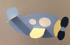 9 inch card stock airplane centerpiece for baby shower.