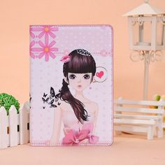 Cute Girl iPad Mini 1 2 PU Leather Stand Case