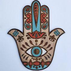 Boho Hamsa hermosa arte de pared, mano pintada protección sagrado símbolo decoración, mano de Fátima